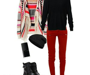beanie, cardigan, and combat boots image