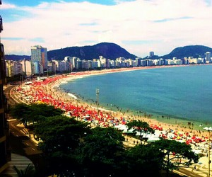 beach, brazil, and buildings image