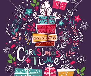 christmas, floral, and gift image