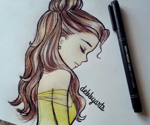 disney, belle, and drawing image