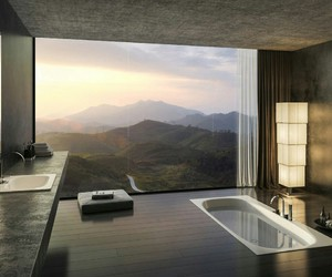 bathroom, landscape, and view image