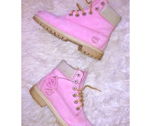 pink, timberland, and boots image