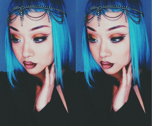 asian, blue hair, and jewelry image