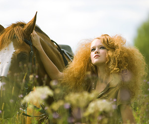 horse, girl, and meadow image