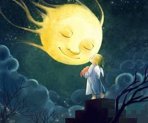 moon, night, and angel image