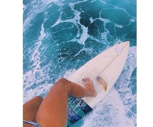 girl, surf, and blue image