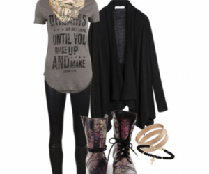 combat boots, look, and autumn outfit image