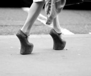 black and white, heels, and fashion image