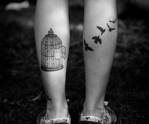 tattoo, bird, and black and white image