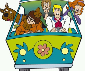 happy, mystery machine, and scooby doo image