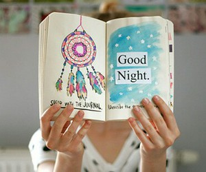 good night, book, and draw image