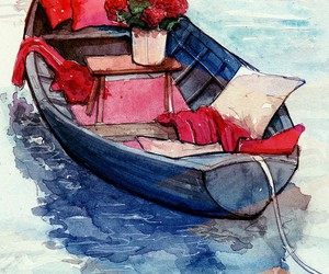 boat, flower, and pillows image