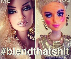 barbie, makeup, and funny image