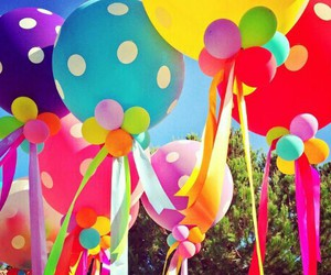 balloons, colorful, and rainbow image