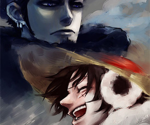 one piece, luffy, and trafalgar law image
