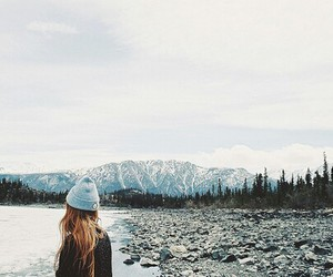 girl, mountains, and winter image