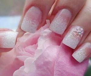 nails, pink, and snowflake image
