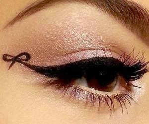makeup, eyeliner, and bow image