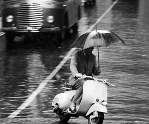 rain, umbrella, and Vespa image