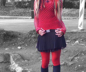 dreads, red, and cybergoth image