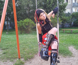 red, demonia boots, and cybergoth image