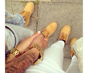love, couple, and timberland image