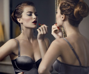 girl, primping, and model image