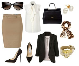 black purse, gold, and black pumps image