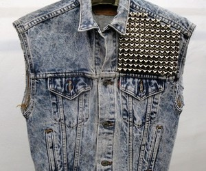 vest, jeans, and studs image