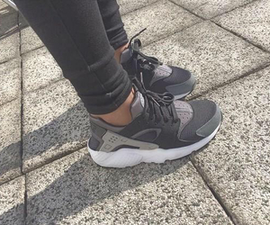 nike, grey, and huarache image