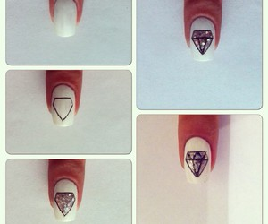 nails, diamond, and nail art image