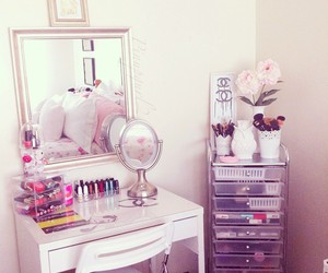 cosmetics, makeup storage, and home decor image
