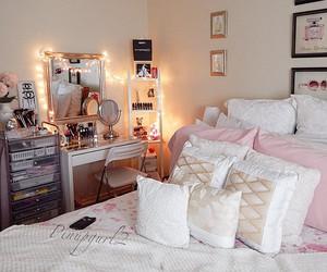 bedroom, makeup, and makeup mirror image