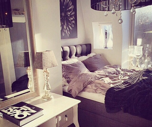 bed room, lights, and luxury image