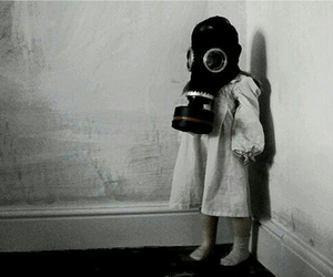 child, black and white, and mask image