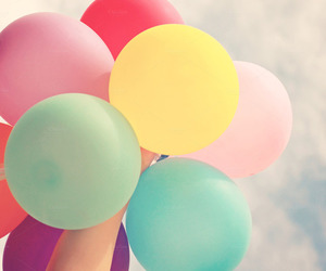 balloons, colorful, and happy image