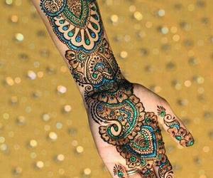 henna, tattoo, and blue image
