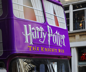harry potter, bus, and purple image
