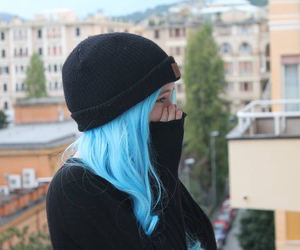 black, black hat, and blue hair image