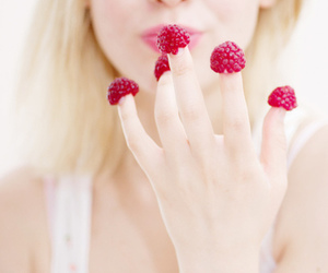 raspberry, girl, and berries image