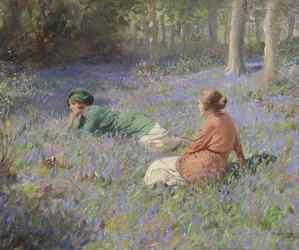 field, flowers, and girls image