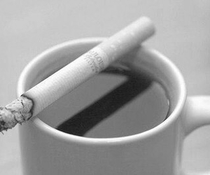 cigarette, coffee, and black and white image