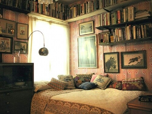 bed, books, and room image