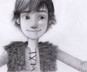 pencil sketch, hiccup, and httyd image