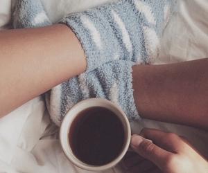 cozy, socks, and tea image