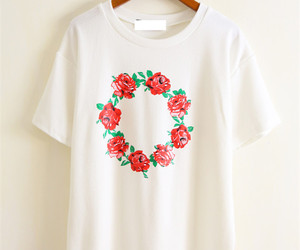 floral, tee, and white image