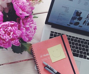 flowers, pink, and notebook image