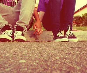 converse, holding hands, and vans image