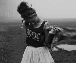 girl, ACDC, and black and white image