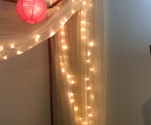 bedroom, canopy, and christmas lights image